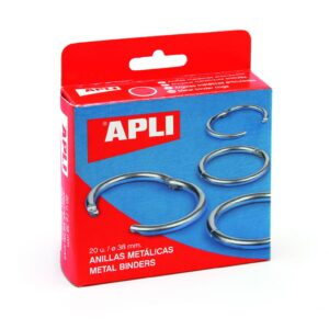 APLI Anillas metalicas Caja 20 Ud 20 mm Plata 00451
