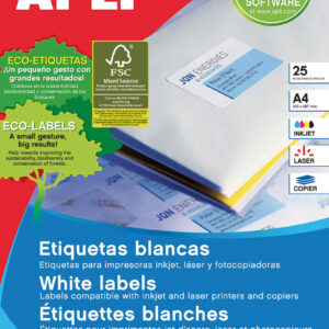 APLI Paquete 25 hojas etiquetas blancas i/l/c 70×37 mm