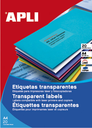 APLI PACK 20H Etiquetas Translúcidas Mate 70,0 x 37,0 mm