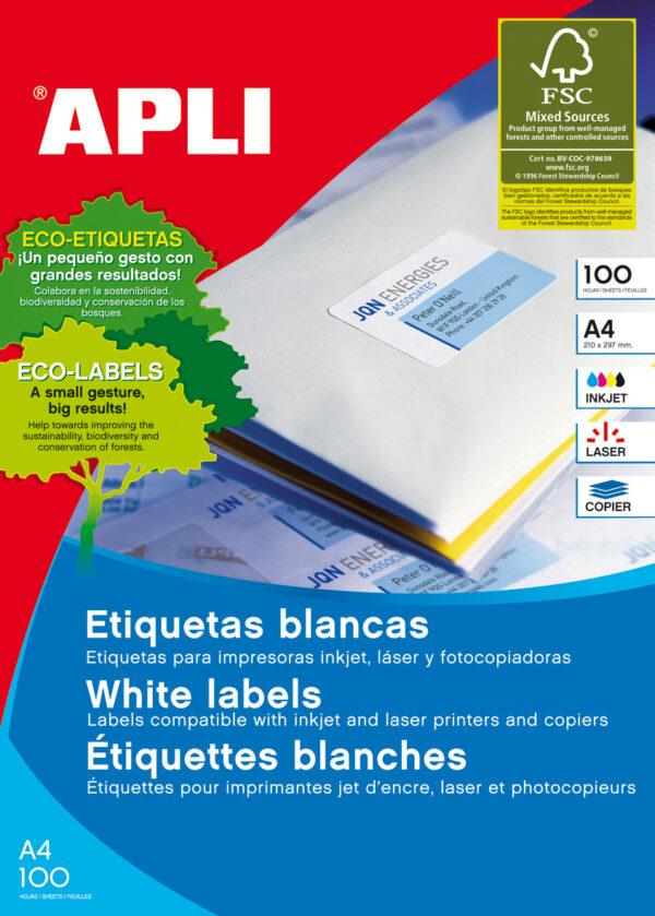 APLI Caja 100 hojas etiquetas blancas i/l/c 105×42,4 mm