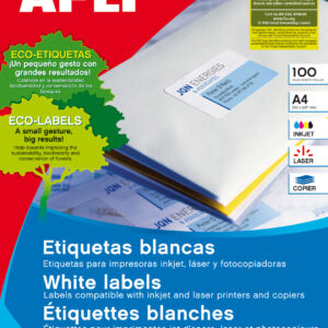 APLI Caja 100 hojas etiquetas blancas i/l/c 52,5×29,7 mm