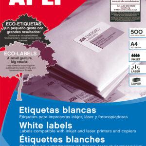 APLI Caja 500 hojas etiquetas blancas i/l/c 210×297 mm