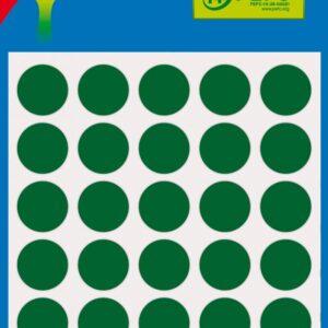 Bolsa 5 Hojas Etiquetas Redondas Color Verde 13 mm