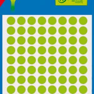 Bolsa 3 Hojas Etiquetas Redondas Color Verde Fluor 8 mm