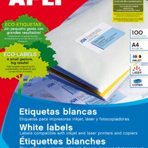 APLI Caja 100 hojas etiquetas blancas i/l/c 99,1×93,1 mm