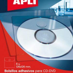 BOLSA 6 UD. BOLSILLO AUTOADHESIVO PARA CD ROM APLI 2585