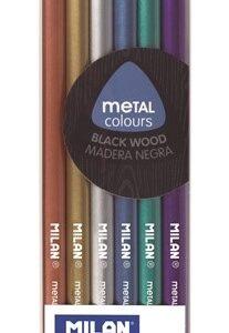 MILAN Caja de 6 lápices de colores metalizados