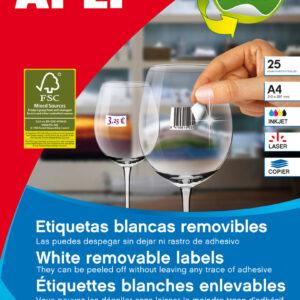PAQ. 25H. ETIQUETAS BLANCAS REMOVIBLES C/R 10197