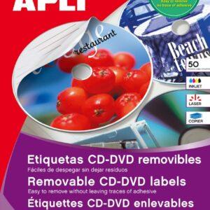 BLISTER 25H. ETIQUETAS CD REMOVIBLES APLI 10600