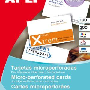 APLI Paquete 10 hojas tarjetas visita microperforadas 200gr. 90×50,8mm para Inkjet/Láser/Copy 10608