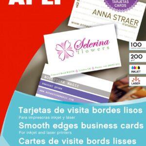 APLI Paquete 15 hojas tarjetas visita bordes lisos 200gr. 89x51mm para Láser/Copy 10609