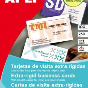 APLI Paquete 10 hojas tarjetas visita bordes lisos extra-rígidas 250gr. 89x51mm para Láser/Copy 1061
