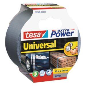 TESA Cinta americana Extra Power Plata 50mmx10m Facil corte Resiste al clima  56348-00000-06