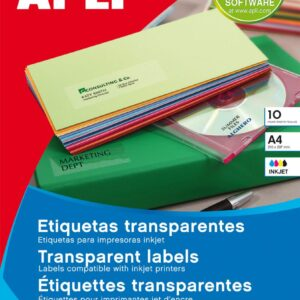 PAQ. 10H ETIQUETAS APLI TRANSPARENTES 63,5X38,1 10967