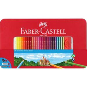FABER-CASTELL Estuche de metal 60 lapices de color clasicos + 1 afila + 1 goma borrar DUST-FREE + 1