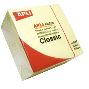 Cubo Notas Adhesivas Color Amarillo 75×75 mm Apli