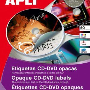 CAJA 100 ETIQUETAS CD-DVD OPACAS APLI 11704