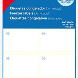 Bolsa 10 hojas Etiquetas Blancas Especial Congelador 34 x 53 mm Apli