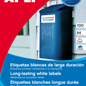 PAQ. 100H ETIQUETAS POLIESTER BLANCO A-4 APLI 12121