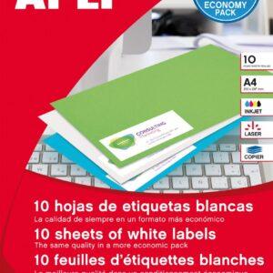 PACK 10 H ETIQUETAS BLANCAS ARCHIVO 190X61 APLI 12920