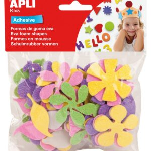 APLI Goma Eva Bolsa 48 Ud Purpurina flores Adhesivo Adhesivo 13078