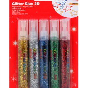 BLISTER 6 GLITTER GLUE 3D PURPURINA 13223
