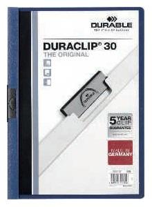 DURABLE Dossiers clip Duraclip Capacidad 60 hojas A4 Azul oscuro PVC 2209-07