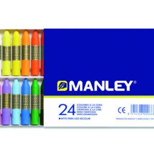 MANLEY Ceras Caja 24 Ud Colores Surtidos MNC00066