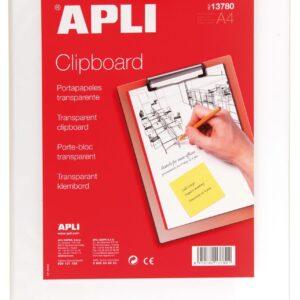 APLI CLIPBOARD BASE PLASTICO TRANSPARENTE A4 13780