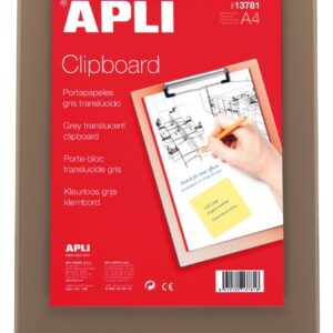 APLI CLIPBOARD BASE PLASTICO GRIS TRASLUCIDO A4 13781