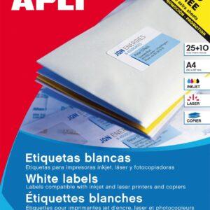 APLI Paquete 25 hojas etiquetas blancas i/l/c redondas Ø 40 mm