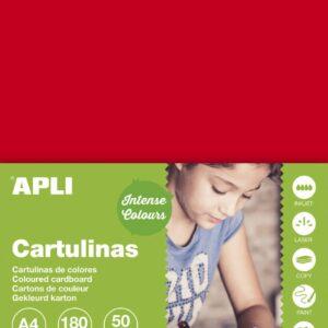 CARTULINA 180G A4 50H ROJO 14239