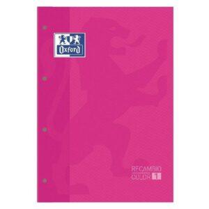 OXFORD Recambio de papel 80h A4 Cuadricula 5×5 Recuadro Rosa