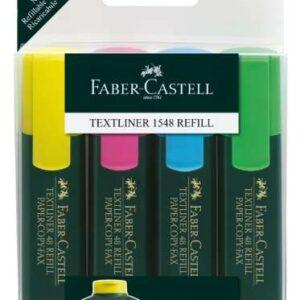 FABER CASTELL 4 Marcadores fluorescente Textliner 48 amarillo, naranja, rosa y verde 154804
