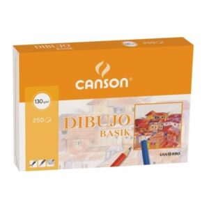 GUARRO CANSON Papel dibujo basik 210×297 -130 gr -sin recuadro. Pack 250 hojas.