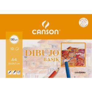 GUARRO CANSON Papel dibujo basik din a4 -sin recuadro 130 gramos -en minipacks de 10 hojas