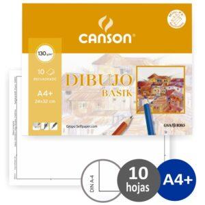 GUARRO CANSON Papel dibujo basik 240×320 din a4 + 130 gr. Con recuadro -minipack de 10 hojas.