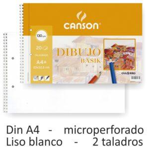 GUARRO CANSON Bloc dibujo basik din a4+ 23 x 32.5 cm -20 hojas microperforado -2 taladros. 130 gr