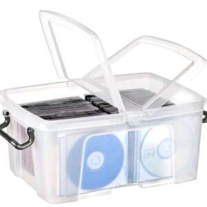 CEP Contenedor plastico 12 litros 405x295x183 mm transparente con tapa y cierre hermetico.