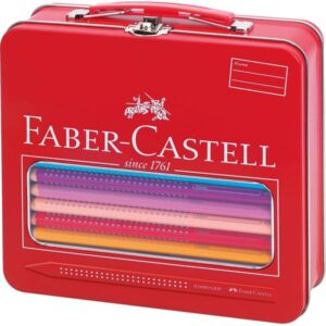 FABER CASTELL Maletín regalo 18 lapices color Jumbo Grip, 1 lapiz grafito, 1 pincel, 1 vaso y 1 afil