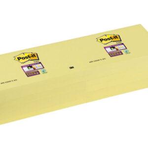 POST-IT Notas adhesivas Super Sticky Pack 12 blocs 90h Amarillo 76x127mm 655-12SSCY-EU