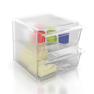 ARCHIVO 2000 Cubo organizador Con 2 cajones grandes transparente 190x155x155 mm 6702CSTP