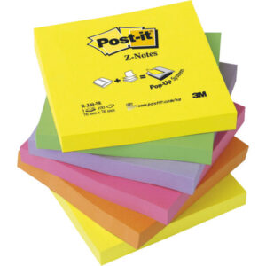 POST-IT Notas adhesivas Z-Notes Pack 6 blocs Neon surtidos 76x76mm FT510089939