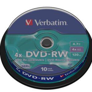 VERBATIM DVD+RW Advanced Serl Bobina 10 ud 4X 4.7GB 43552