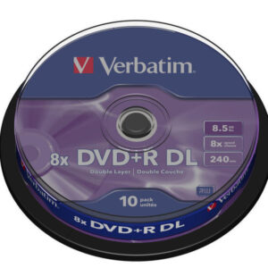 VERBATIM DVD+R Advanced AZO bobina pack 10 ud 8x  8,5GB 240 min 43666