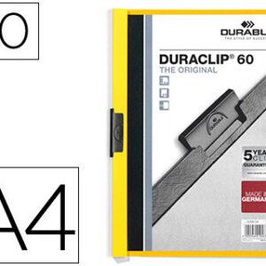DURABLE Dossiers clip Duraclip Capacidad 60 hojas A4 Amarillo PVC 2209-04