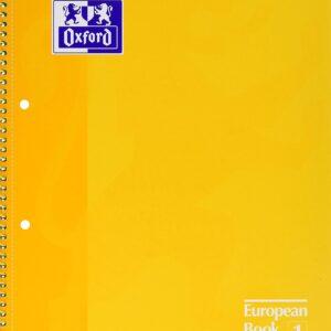 OXFORD Cuaderno espiral School 80h A4 Cuadricula 5×5 Amarillo 100430200