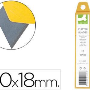 REPUESTO CUTER ANCHO METALICO Q-CONNECT 0,5X18 MM -ESTUCHE DE 12 CUCHILLAS