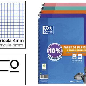 PACK 5 CUADERNO OXFORD Fº 4X4 80H 90G TAPA PLASTICO 400091366