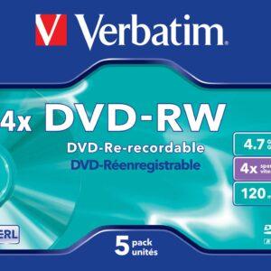 VERBATIM DVD -RW Matt Silver Pack 5 ud 4.7GB 4X 120min 43285